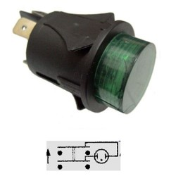 PULSANTE LUMINOSO VERDE OFF-(ON) 250Vac 16A BIPOLARE