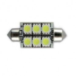 LAMPADINA A LED FESTOON 10-30V 1,5W 6K 37MM 6 LED PIATTA