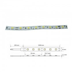 STRIP LED 5050 12V 60W 60LED/M 6K IP20 5MT