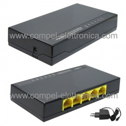 HUB ETHERNET SWITCH DI RETE 1 GIGABIT 10/100/1000Mbps 5 PORTE RJ45